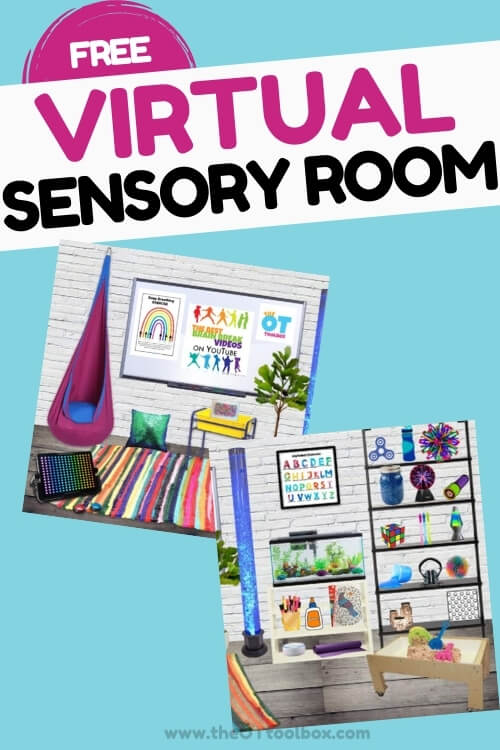 Virtual sensory room that is a virtual calming room space for kids in teletherapy or face to face therapy, classroom, or home.