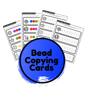 outer space fine motor bead copying designs
