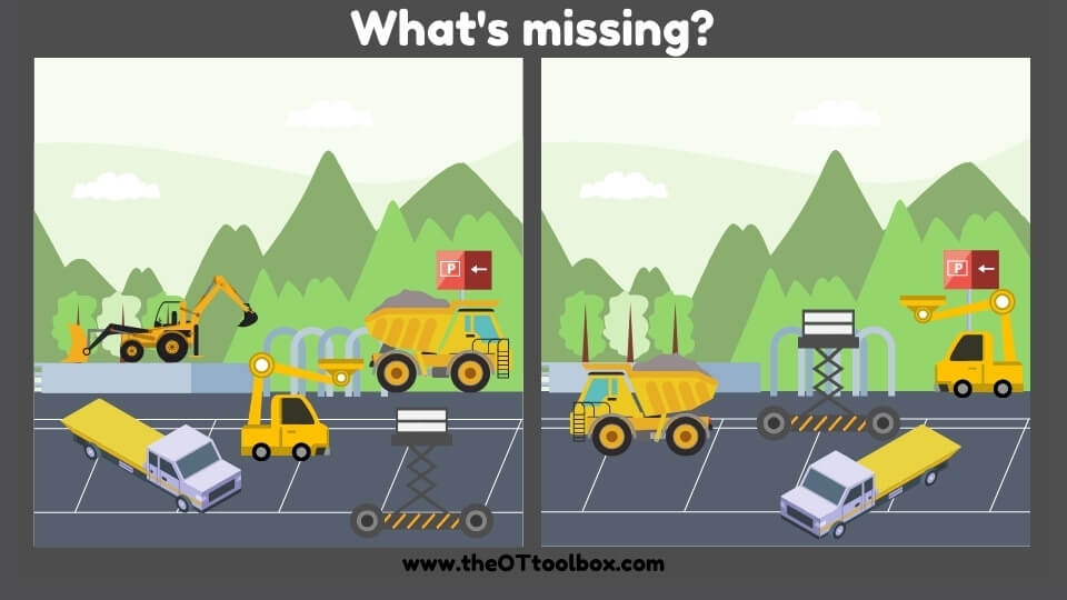 """What's missing pictures like this truck """"what's missing"""" picture help kids with visual perceptual skills like visual discrimination, figure-ground, visual scanning, form constancy, and other visual perceptual skills in handwriting."""