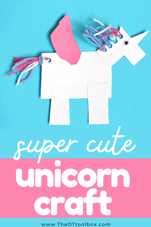Unicorn craft for developing fine motor skills, eye hand coordination, scissor skills and other occupational therapy goal areas.