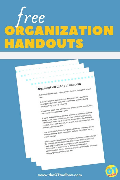 Free organization handouts for helping students stay organized
