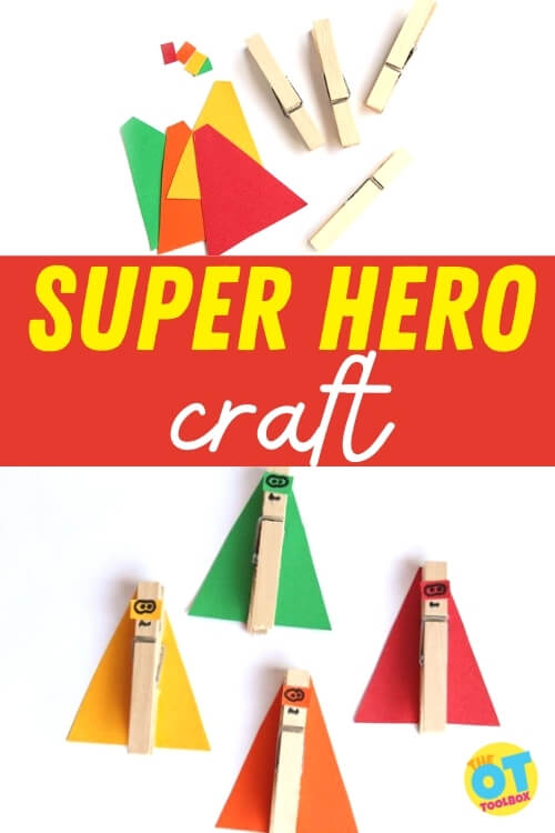 Make a super hero craft with clothes pins to work on fine motor skills with a super hero theme.