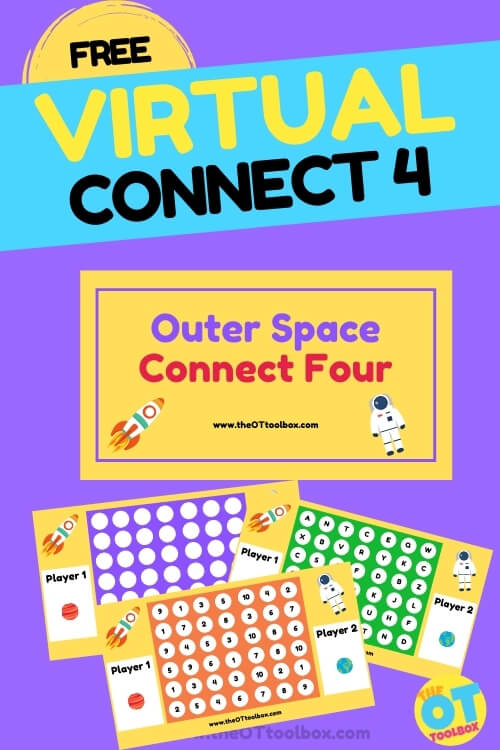Grab this free virtual Connect 4 game for building skills in occupational therapy, using a outer space connect 4 game!