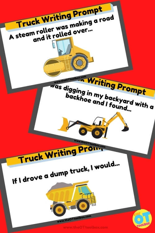 Truck writing prompts to help kids with writing words and sentences in to practice handwriting.