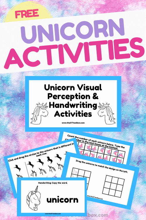 Unicorn activities including handwriting, visual perception, and writing prompts