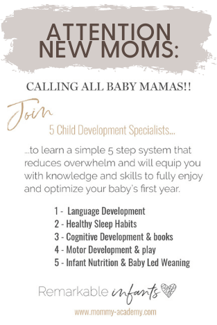 Infant development course for new moms, created by occupational therapist and other developmental specialists.