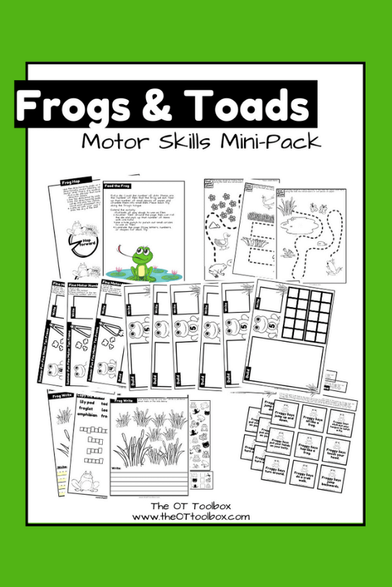 frog and toad activities motor skills packet