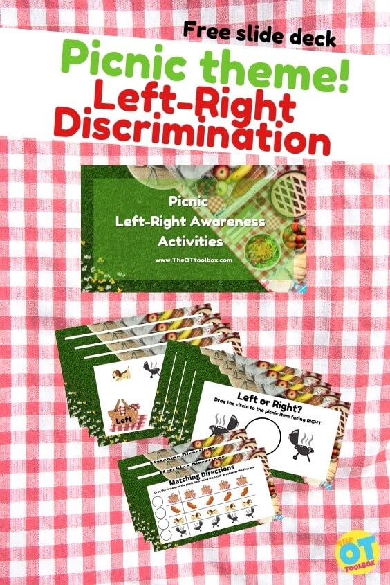 Left right discrimination with a picnic theme to help kids with left right awareness in functional tasks.