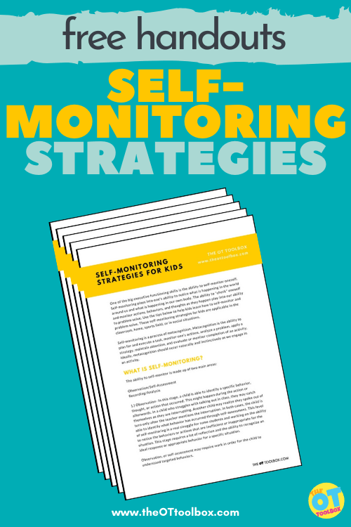 Self-monitoring strategies and free handouts with self monitoring examples for parents, teachers, therapists.