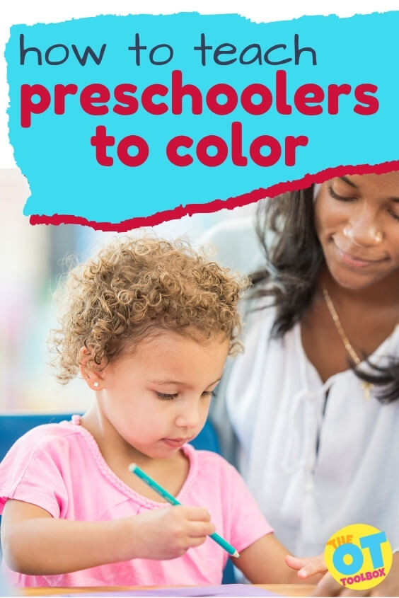 Tips and strategies to teach preschoolers to color. Includes information for younger preschoolers and Pre-K.