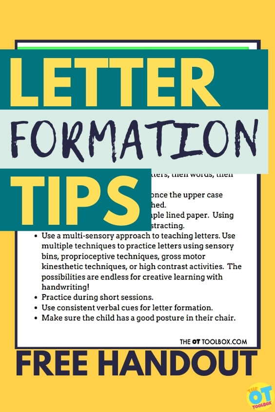 letter formation handout for helping kids with handwriting skills