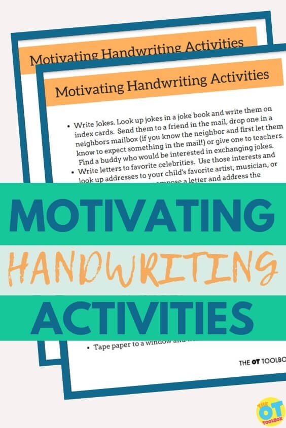 Handwriting ideas for reluctant writers.