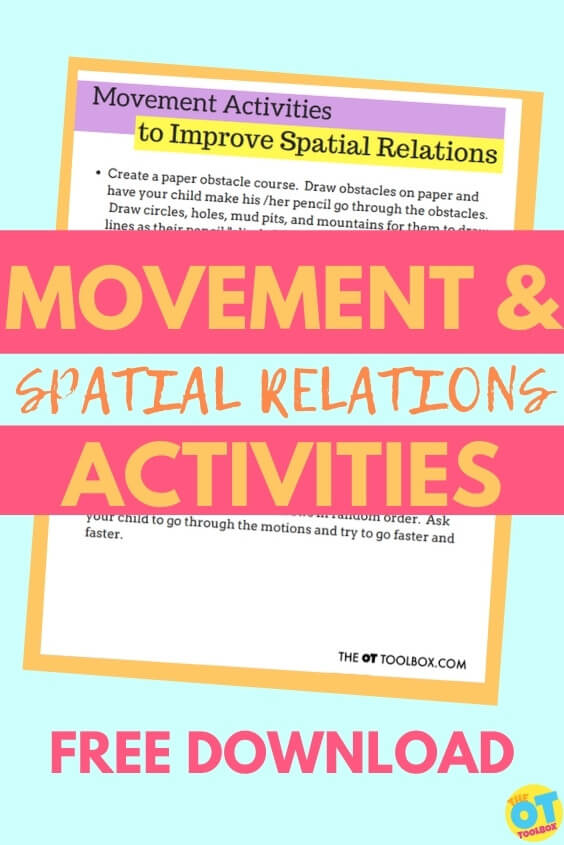 Movement and spatial relations worksheet to improve spatial awareness in kids
