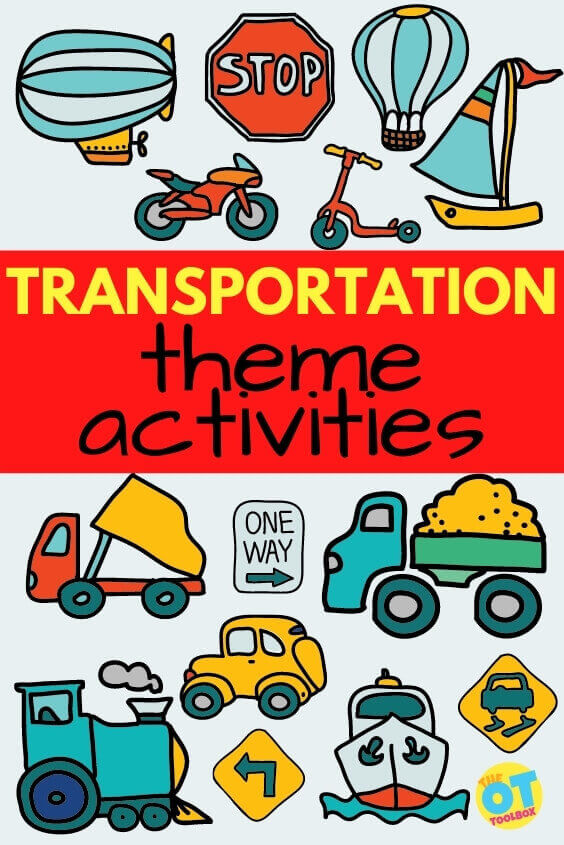 Transportations theme activities for therapy, including movement, transportation crafts, and trucks and cars activities for kids.
