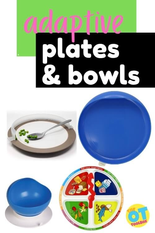 Adaptive plates and adapted bowls for feeding issues