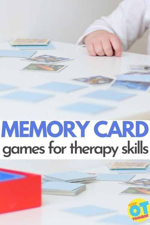 Memory card games as an occupational therapy activity to work on working memory, attention, concentration, spatial relations, visual motor skills, and handwriting.