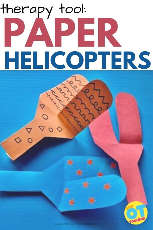 Paper Helicopters for using in occupational therapy crafts