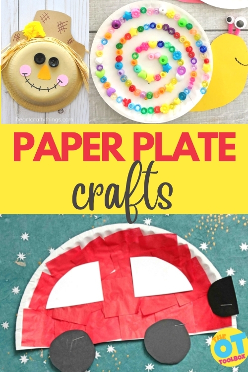 Use these paper plate crafts to work on scissor skills, hand strength, dexterity, eye-hand coordination, and more.