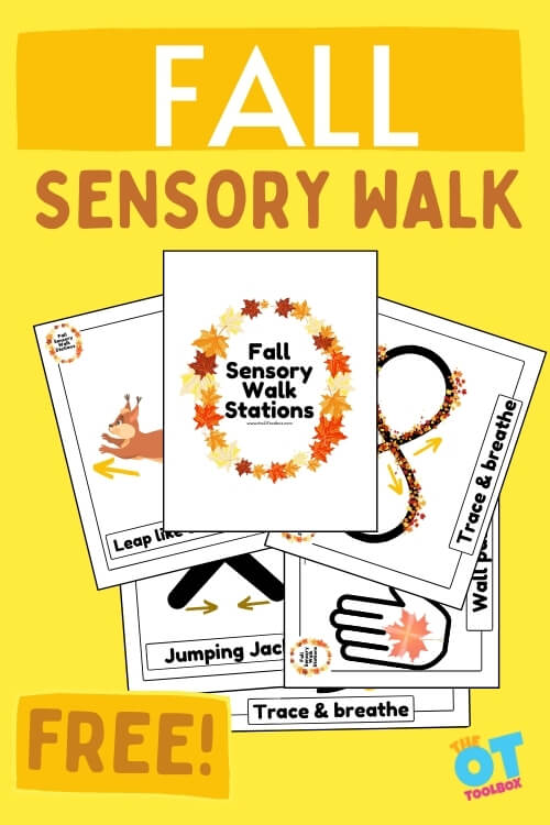 Fall themed sensory stations for a sensory walk in the school hallways, classroom, therapy clinic, or home.