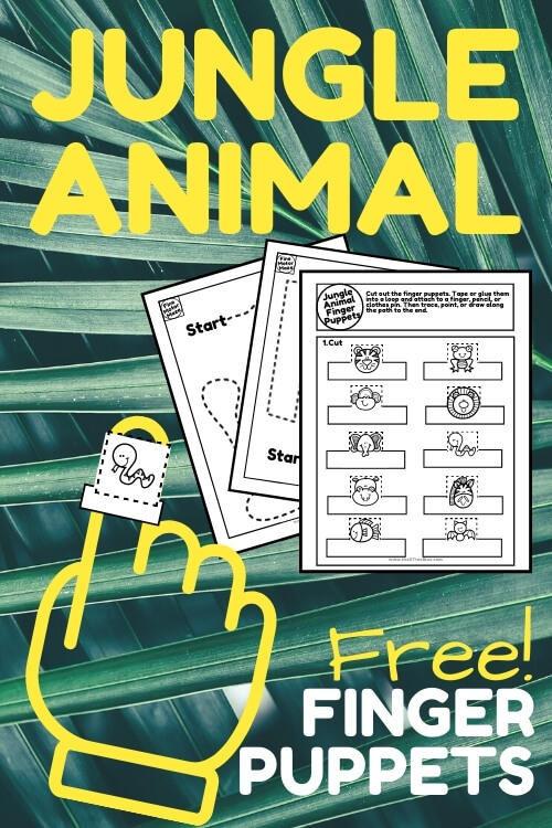 Free printable jungle animal finger puppets to download and use with a jungle theme.