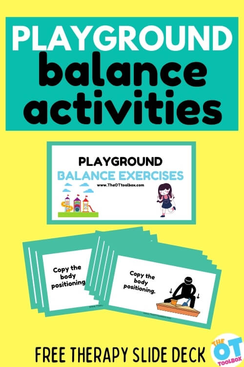 Playground balance activities for sensory play and coordination when going to the playground isn't possible. Use these in a playground theme in therapy activities.