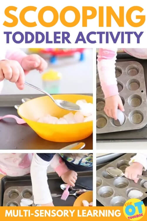 Ice is a great scooping activity for toddlers to work on coordination and fine motor skills.