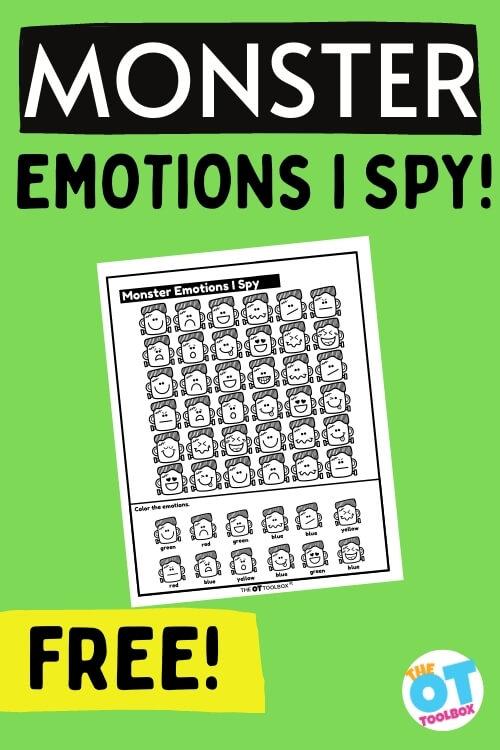 emotions monster I spy worksheet