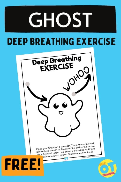 ghost deep breathing exercise for self-regulation for kids with a ghost theme