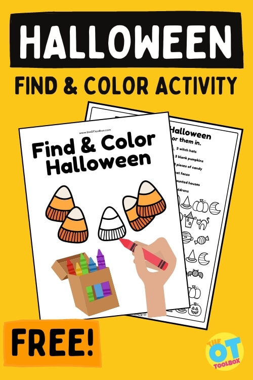 Halloween find and color worksheets