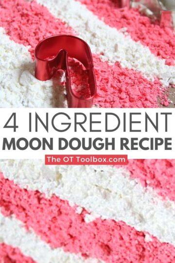Moon dough recipe is a peppermint dough recipe for Christmas sensory play.