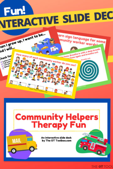 Community helper activity with a themed slide deck for occupational therapy virtual therapy sessions.