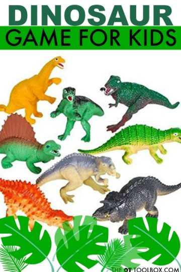 Use this dinosaur game for kids to help with gross motor skills using a fun dinosaur activity.