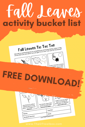 Fall leaves printable tic tac toe activity for occupational therapy home programs