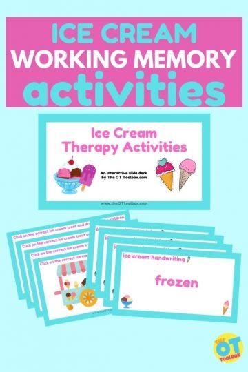 ice cream activity for working memory skills