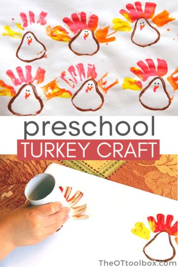 toilet paper roll turkey craft, a perfect preschool turkey craft for kids.