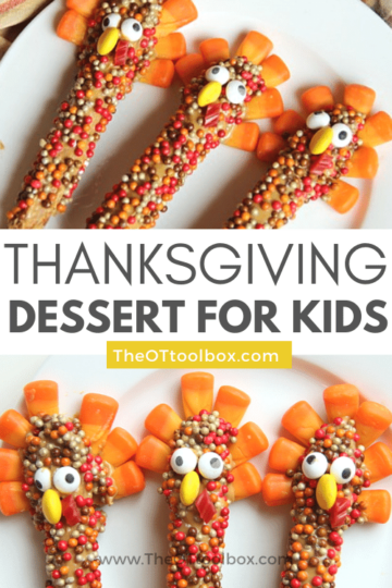Thanksgiving treats for kids can include turkey pretzel rod snacks, a thanksgiving dessert made by kids!