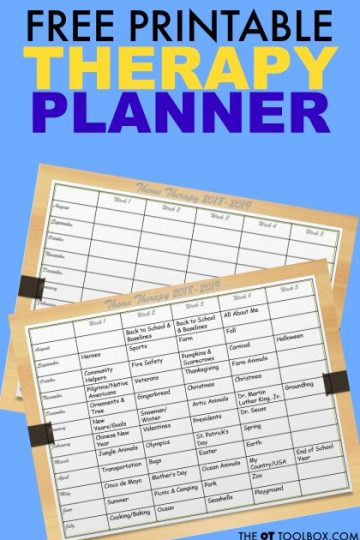 Therapy planner for planning occupational therapy sessions