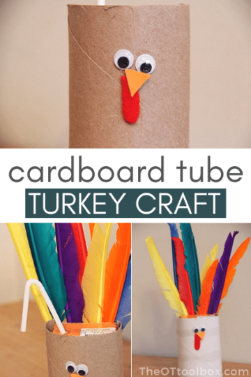 Cardboard turkey craft that doubles as a juicebox cover and an oral sensory tool