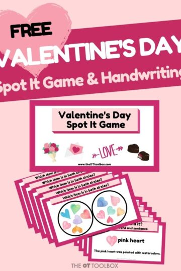 Valentine's Day handwriting activity and free slide deck for occupational therapy